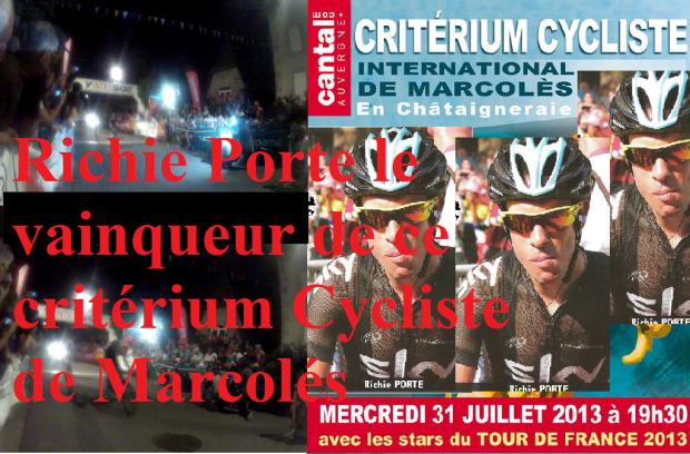 Richie Porte le vainqueur de ce critérium Cycliste de Marcolés